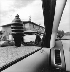 Lee Friedlander Alaska 2007 From the series America by Car, Gelatin silver print 15 × 15 in. Lee Friedlander, Stephen Shore, William Eggleston, Saul Leiter, Richard Long, Whitney Museum, Gelatin Silver Print, Street Signs, Mirror Image