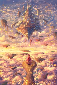 My Fantasy World, Fantasy City, Fantasy Castle, Fantasy Places, Anime Fantasy, Fantasy Art Landscapes, Fantasy Landscape, Landscape Art, Fantasy Concept Art