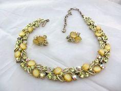 Lisner Moonglow w Rhinestones Necklace w Earrings от OurBoudoir