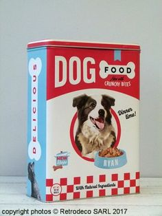 Boîte Dog Food GM, déco vintage, Nostalgic Art Nostalgic Art, Vintage Dog, Dog Food Recipes, Deco, Passion, Dogs, Dog Recipes, Decor, Deko