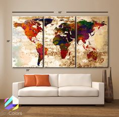 """LARGE 30""""x 60"""" 3 Panels Art Canvas Print Watercolor Texture Map Old brick Wall Full color red orange decor Home interior (framed 1.5"""" depth)"""