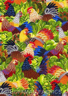 CHICKEN SALAD Hoffman Fabric Hen Pecked Bright Colors Cotton Quilt Scrapbook (chicken salad????) hehe