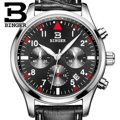 36.12$  Buy here - http://aiaac.worlditems.win/all/product.php?id=32545857501 - Switzerland BINGER watches men luxury brand Quartz waterproof leather strap Chronograph Stop Watch Wristwatches B9202-10