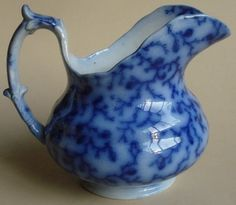 ANTIQUE FLOW BLUE POTTERY STAFFORDSHIRE CREAMER HACKWOOD 1840's BERRY PATTERN