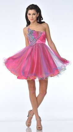 Hot Pink One Shoulder Strap Prom Dress Short Sequin Butterfly Bodice $177.99