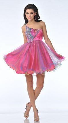 Short Prom Hot Pink Cocktail Dress Strapless Tulle Skirt Sequin ...