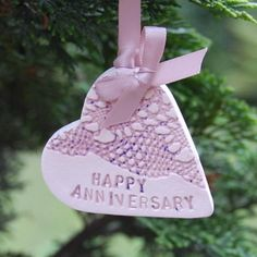Happy Anniversary ceramic heart keepsake personalised.  £7.50