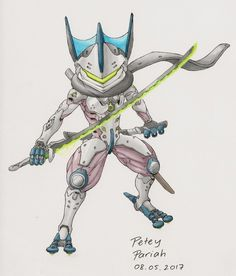 There's a lot of Overwatch and Pokemon crossover art out there (I know I'm not original or clever) and one of the most common mashups are Greninja and G. Pokemon X Overwatch: Greninja X Genji (AKA Grenji) Pokemon Fusion Art, Mega Pokemon, Pokemon Fan Art, Pokemon Crossover, Anime Crossover, Overwatch Pokemon, Gengi Overwatch, Pokemon Pictures, Charizard