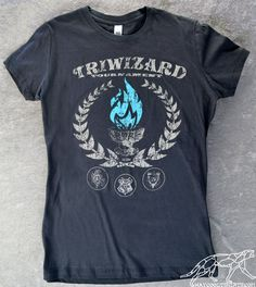 HARRY POTTER TRIWIZARD Tournament Women's Shirt Ringspun Cotton Dark Grey -- Blue Flames of the Goblet of Fire Spit out Harry Potter's Name by waycooltshirts on Etsy https://www.etsy.com/listing/115453977/harry-potter-triwizard-tournament-womens