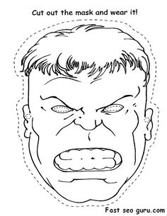 Printable Superheroes Hulk face cut out Coloring pages.jpg 590×764 pixels