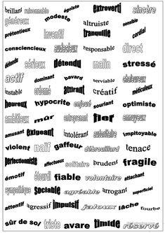 Adjectifs personnalité fiche d'exercices - Fiches pédagogiques gratuites FLE Adjectives To Describe Personality, Adjectives To Describe People, Resume Adjectives, List Of Adjectives, Core French, French Class, English Class, French Adjectives, List Of Emotions