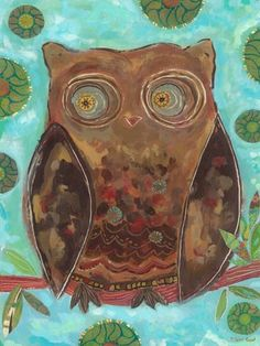 """Mr. Hooty Hoots"" owl kids wall decor by Carter Carpin for Oopsy Daisy, Fine Art for Kids $119"