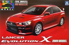 toyota model car kits   Aoshima 2009 Model Lancer Evolution X Model Kit