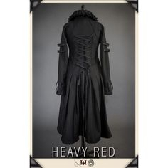 TENEBROUS CIRCUMSTANCE CORSET COAT ❤ liked on Polyvore featuring outerwear, coats, gothic long coat, steampunk coat, long red coat, gothic coat and heavy coat