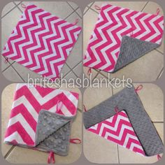 READY TO SHIP Hot pink chevron minky with grey minky and ribbon loops baby lovey blanket