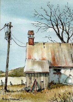 Still standing ACEO 2 5 5 Original Watercolor Peter Sheeler old house farm Watercolor Barns, Watercolor Scenery, Watercolor Architecture, Watercolor Landscape Paintings, Watercolor Images, Pen And Watercolor, Landscape Drawings, Watercolor Illustration, Landscape Art