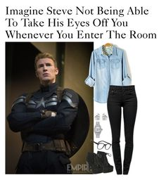 """Imagine Steve Not Being Able To Take His Eyes Off You Whenever You Enter The Room"" by alyssaclair-winchester ❤ liked on Polyvore featuring Proenza Schouler, Breckelle's, Rolex, Georgini, Larke, imagine, Avengers, marvel, CaptainAmerica and steverogers"
