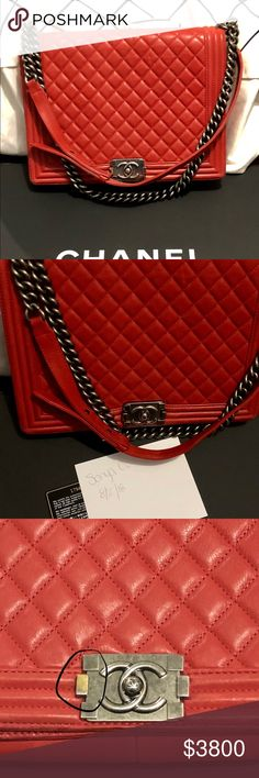 c623b6300af1 Authentic Chanel Le Boy Large Red +accessories 100% authentic Large Red  Chanel Le Boy