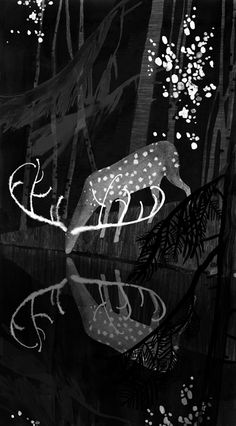 Victoria Semykina art: Black water. Illustrations for a poetry book about Taiga.