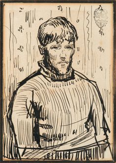 Rik Wouters (Belgian, 1882-1916), Autoportrait. Ink on paper, 14 x 10 cm.  Hendrik Emil (Rik) Wouters (21 August 1882, Mechelen – 11 July 1916, Amsterdam) was a Belgian fauvist painter and sculptor. Wouters was educated at the Académie Royale des Beaux-Arts in Brussels.