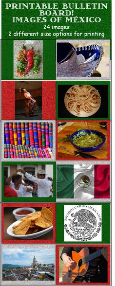 Printable Bulletin Board- Images of Mexico Perfect to celebrate Mexican culture. Adds to classroom decor for Hispanic Heritage Month, Día de los Muertos (Day of the Dead), and Cinco de Mayo 24 images with backgrounds Prints in two different size options Middle School Spanish, Elementary Spanish, Teaching Spanish, Elementary Education, Teaching Resources, Spanish Lesson Plans, Spanish Lessons, Spanish Activities, Fun Activities