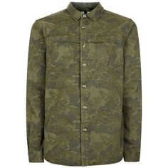 TOPMAN Khaki Camo Overshirt ($37) ❤ liked on Polyvore featuring men's fashion, men's clothing, men's shirts, men's casual shirts, green, mens collared shirts, mens green shirt, mens camo shirts, mens khaki shirt and mens camouflage shirts