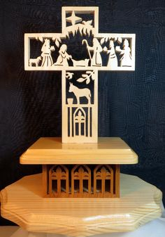 Nativity Story Cross  Scroll Saw Art