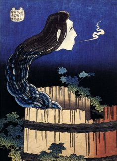 Katsushika Hokusai / a woman ghost appeared from a well