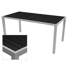 "Source Contract Nevada Dining Table Table Size: 33.5"" L x 95.6"" W, Top Finish: Black, Base Finish: White"