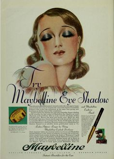 """1920s ad from Maybelline. The original """"smoky eye."""""""