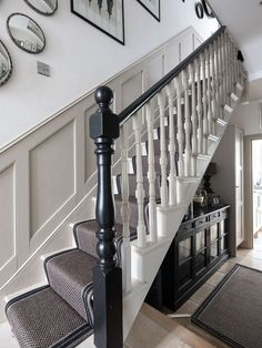 A classic Victorian terrace house which is located in London. White Staircase, House Staircase, Staircase Design, Staircases, Edwardian Hallway, Edwardian Staircase, Victorian Stairs, Victorian Terrace House, Edwardian House
