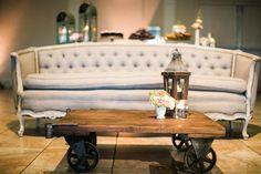 milk glass vintage rentals - sofa, table