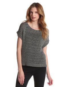 HALSTON HERITAGE Women's Short Sleeve Loop Lurex Sweater, Grey Gold, Large | Traveling Of Life