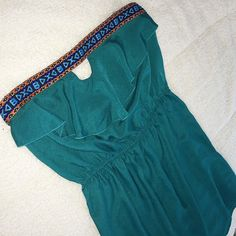 Charlotte Russe Teal Boho Dress Size large. Strapless. Stretchy top. Light flowy fit. Charlotte Russe Dresses Mini