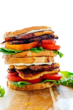 Try this vegetarian riff on a BLT sandwich! Instead of bacon, we'll use pan-fried halloumi cheese, which is similarly chewy, salty, golden and tasty. Enjoy this recipe during tomato season! #blt #sandwich #vegetarian #halloumi #cookieandkate Vegetarian Recipes, Healthy Recipes, Vegetarian Wraps, Vegetarian Sandwiches, Healthy Dinners, Healthy Cooking, Delicious Recipes, Healthy Food, Healthy Eating