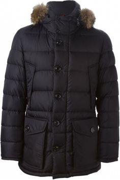 Moncler Cluny padded Zwart jas. Zwarte veer naar beneden en coyote bont 'Cluny'