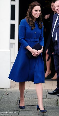 hrhduchesskate:  Engagements at the Anna Freud Centre and Child Bereavement UK, January 11, 2017-The Duchess of Cambridge debuted a royal blue coatdress by Eponine London and accessorized with Rupert Sanderson 'Malory' pumps, Stuart Weitzman 'Muse' pumps, Cartier 'Ballon Bleu' watch and her diamond and sapphire drop earrings