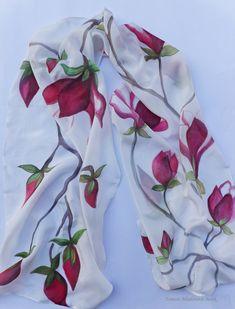 Silk scarf,Hand painted silk scarf,Artistic silk scarf,Unique silk scarf,Scarf with magnolia ,Nature motives,Flowers scarf,Long silk scarf Painted Silk, Hand Painted, Magnolia Flower, Silk Material, Silk Painting, Ballet Dancers, Silk Scarves, Beautiful Hands, Ballerina