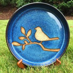 Bird on Branch Serving Plate Cobalt Blue Stoneware Pottery HANDMADE
