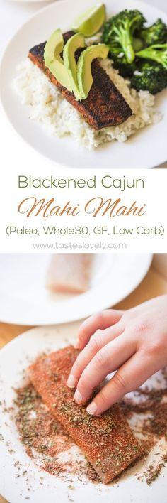 Paleo Blackened Cajun Mahi Mahi is FULL of flavor yet light and healthy! #whole30 #glutenfree #lowcarb
