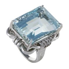 Aquamarine Diamond Platinum Cocktail Ring   From a unique collection of vintage cocktail rings at https://www.1stdibs.com/jewelry/rings/cocktail-rings/