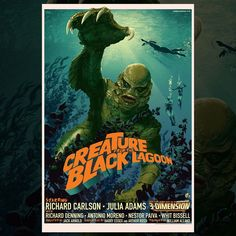 Universal Classic Monsters Movie Poster : The Creature From The Black Lagoon 3 D 1954 by Stan & Vince @ Mondo. Horror Movie Posters, Old Movie Posters, Classic Movie Posters, Cinema Posters, Classic Monster Movies, Classic Horror Movies, Classic Monsters, Retro Horror, Vintage Horror