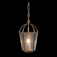 LanternThis stunning Italian cast lantern in a brass finish would look beautiful in any space. Inspired by traditinal lanterns, but not overly decorative, the caged top gives it a rustic/mo Georgian Era, Lighting Online, Light Fittings, Polished Brass, Clear Glass, Lanterns, Chrome, It Cast, Chandelier