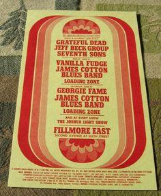 1968 Grateful Dead Fillmore East Handbill by SherwoodsTreasures