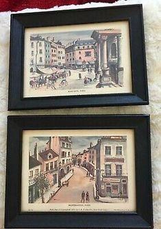 Pair Midcentury Paris Prints 1952 I B Fisher NYC VTG Frames 5 X 7 J. Buzzelli | eBay My Ebay, Fisher, Frames, Mid Century, Nyc, Paris, Canvas, Tela, Montmartre Paris