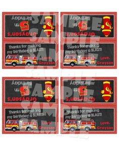 Printable FIRETRUCK TREAT Bag TOPPERS by ShinySparklyParties