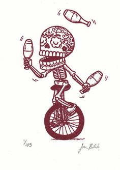 unicycle juggler calavera