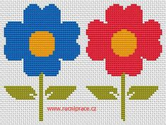 Flowers, free cross stitch patterns and charts - www.cz - this site has loads and loads of free cross-stitch patterns which are perfect for filet crochet! Tunisian Crochet, Filet Crochet, Cross Stitch Designs, Cross Stitch Patterns, Blackwork Patterns, Arts And Crafts, Diy Crafts, Christmas Tree Ornaments, Needlework