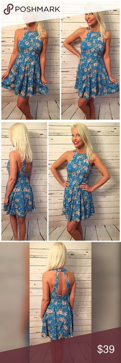 Beautiful blue lined back cut out Halter dress  Stunning blue with blush floral print fully lined back zip and top button Dresses