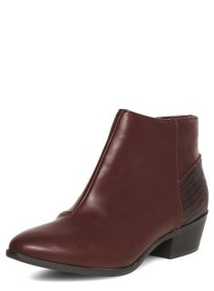 Burgundy point ankle boots